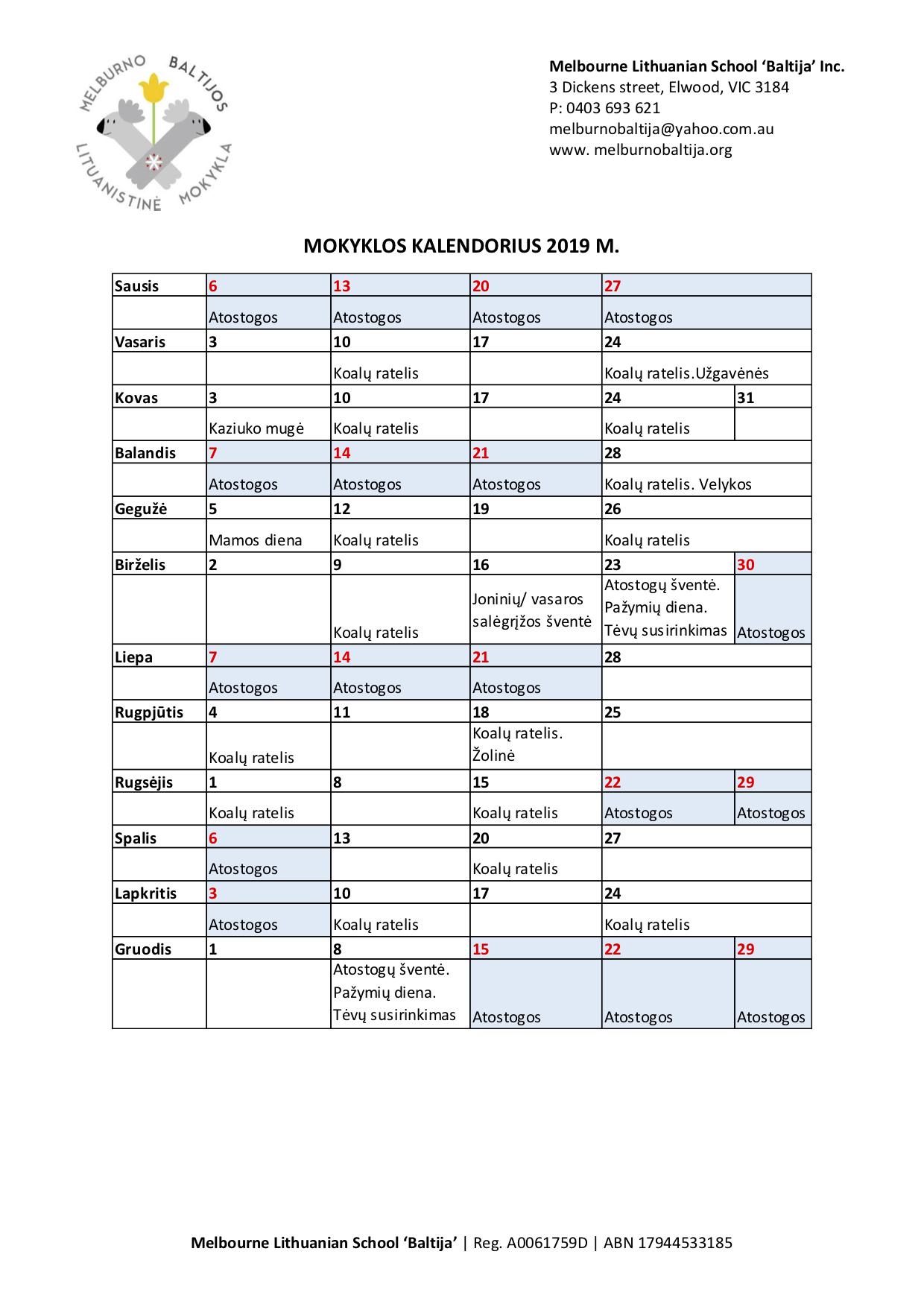 2019 kalendorius